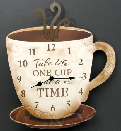 IWGAC 049-14098 Coffee Clock Take Life One Cup At A Time