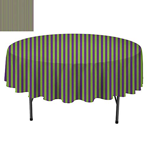 SATVSHOP Small Round tablecloth-60Inch-Great for Buffet Table, Parties, Holiday Dinner & More.Pop Art Vintage etro 50s 60s Style Bold Strip s Wallpaper Image oyal Blue and Lime Green.