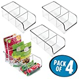 mDesign Kitchen Storage Organizer Bins for Refrigerator, Pantry, Cabinet - Divided 3 Compartment, Pack of 4, Clear