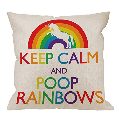 HGOD DESIGNS Throw Pillow Case Keep Calm And Poop Rainbows Unicorn Cotton Linen Square Cushion Cover Standard Pillowcase for Men Women Home Decorative Sofa Bedroom Livingroom 18 x 18 inch