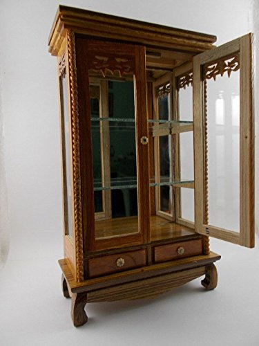 Small Vintage Teak Wood Cabinet Craft Handmade Carved Cupboard Furniture by Mystyleshop (Image #5)