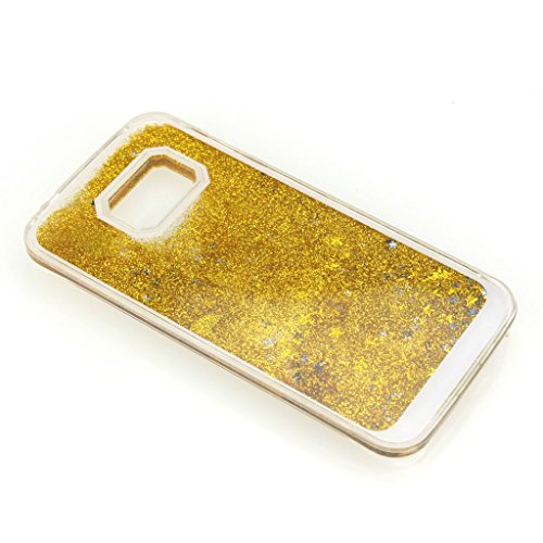 AENMIL Protective Case for Samsung S6 edge, Samsung Galaxy G9250 Bling Cover, Transparent Plastic 3D Glitter Quicksand and Star Liquid Case for Samsung Galaxy S6 edge G9250 (Gold)