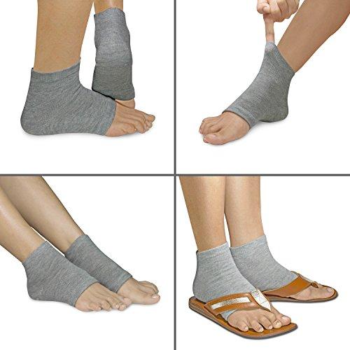 3 PAIRS-Moisturizing Gel Heel Socks w/ Enriched Vitamins for Dry Hard Cracked Heels & DIY Simple Home Remedies by Triim Fitness by Triim Fitness (Image #4)