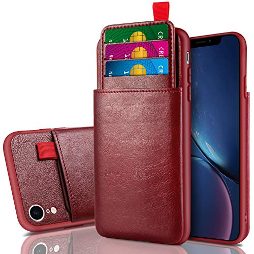 Cheeringary Case for iPhone XR Case Wallet Protective Slim Case with Credit Card Holder Slot Pocket Soft PU Leather Case Shockproof TPU Bumper Cover for iPhone XR 6.1 Inch (2018) Wine Red