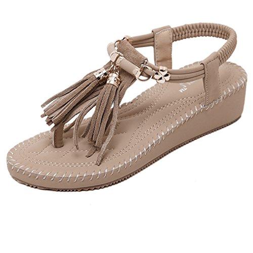 Cybling Fashion Romeinse Kwastje Elastische Band Sleehak Sandalen Schoenen Voor Dames Bruin