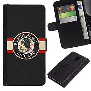 All Phone Most Case / Oferta Especial Cáscara Funda de cuero Monedero Cubierta de proteccion Caso / Wallet Case for Samsung Galaxy Note 4 IV // BLACK HAWK ICE HOCKEY