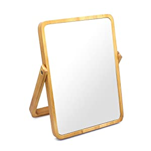 Buwico Rectangle Standing Vanity Makeup Mirror Cosmetic Mirror Table Mirror with Wood Frame and Stand Mirror for Hanging