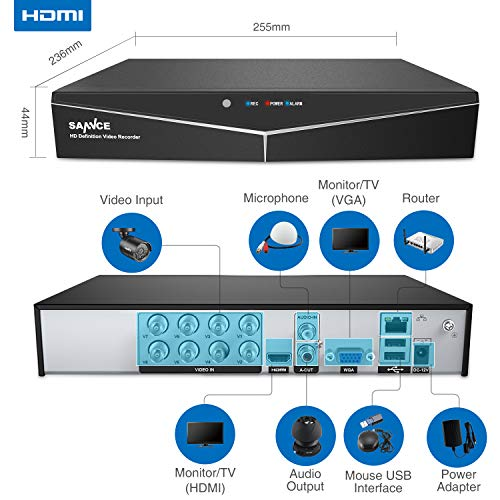 SANNCE Security Camera System 8CH HD-TVI 1080N DVR and 4 HD 720P 1280TVL Indoor Outdoor Weatherproof Surveillance Cameras, Motion Alert, Smartphone, PC Easy Remote Access – NO HDD