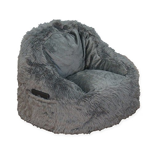 Structured Tablet Fur Pocket Bean Bag in Grey w/ Side Pocket for Book or Tablet