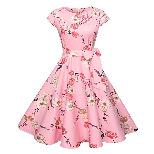 Birdfly Spring Summer Nine Type Women Black & White Vintage Hepburn Style Flower & Leaves PrintBeam Waist Ball Gown Dress Plus 2L (2XL, Pink(Type (Green Masquerade Dresses)