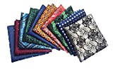 MENDENG Men's 10 Pack Paisley Pocket Square Wedding Party Handkerchief Hanky