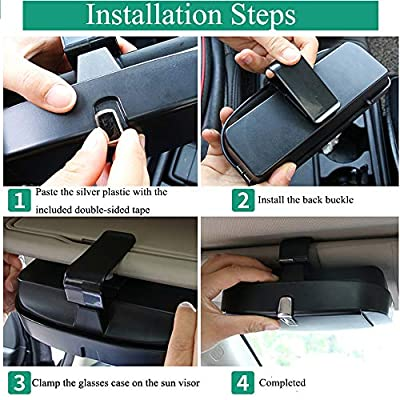 Dualshine Car Sun Visor Glasses Case Holder Clip, Eye Sunglasses Organizer Mount with Ticket Card Clip- Apply to All Car Models (Gray): Automotive