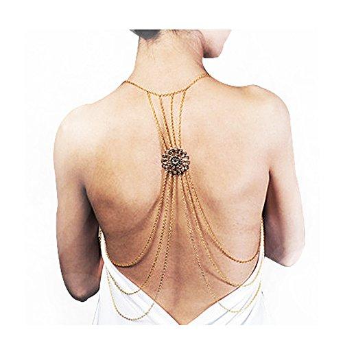 VITORIA'S GIFT Sexy Gold Tone Body Chain Tassel Crossover Adjustable Bikini Fashion Belly Chain Waist Chain Necklace(1 Pcs) (Back chain-wafer-gold)