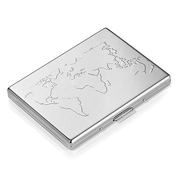 Troika CCC75/CH - Tarjetero de acero, cromado brillante, con el mapa del mundo, plateado