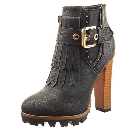 Sopily - Zapatillas de Moda Botines chelsea boots Tobillo mujer Hebilla tachonado fleco Talón Tacón ancho alto 12 CM - Negro