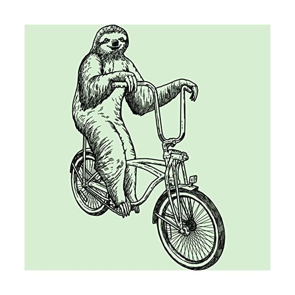 Design By Humans Sloth Riding Bicycle Girl'S Youth Graphic T Shirt -