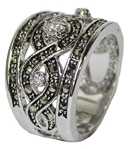 - Women's Rhodium Plated Dress Ring Marcasite and CZ Band 50 (5)