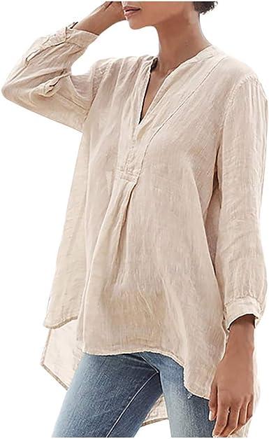 beautyjourney Camiseta de túnica de algodón Suelta para Mujer Blusa con Cuello en v de Manga Larga Casual de Gran tamaño Tops con Dobladillo Irregular S-5XL: Amazon.es: Ropa y accesorios