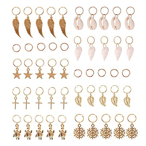 JIALEEY Hair Braid Rings, 50PCS Hair Loops Clips Gold Ring Shell Leaves Star Conch Snowflake Pendant Charms Set Hair Clip Headband ()