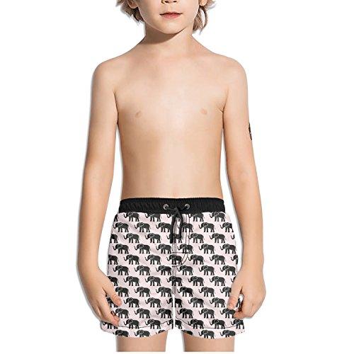 Price comparison product image Trum Namii Boy's Quick Dry Swim Trunks African Elephant Art Print Pink Background Shorts