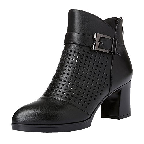 Chunky Heel Black Women's Boots Toe Dethan High Round Ankle 4wtqwvUX