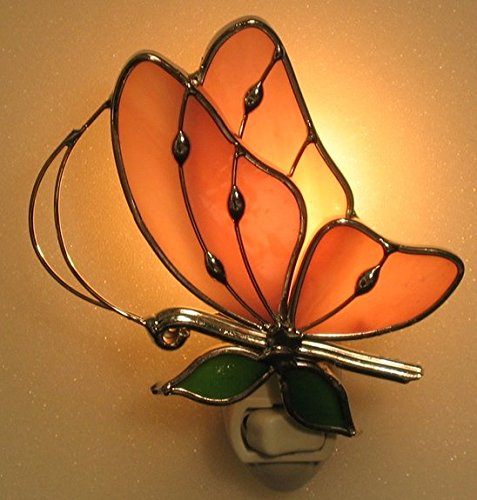 Stain Glass Baby Pink Butterfly Night Light