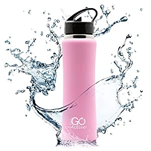 Stainless Steel Insulated Water Bottle with flip straw and sweat-proof rubber grip. H2O Sports drinking bottle is BPA Free, Eco Friendly, Good for Kids, and keeps ice over 24 hours (Light Pink, 24oz)