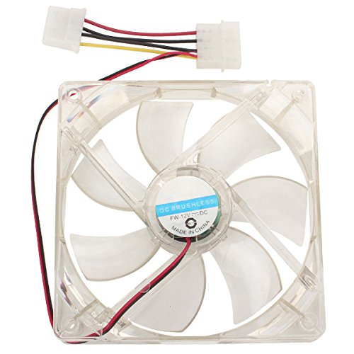 120mm PC Case Cooling Fan 4-LED Red Light With 7 Plastic Blades Pack of 2