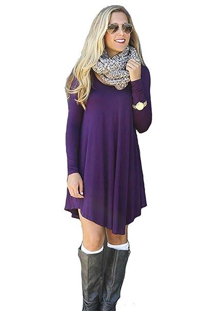 f682b1e5e65 ReachMe Women s Casual Loose T Shirt Dress Long Sleeve Tunic Dress with  Lace Trim at Amazon Women s Clothing store