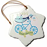 3dRose RinaPiro - Kids - Twins. Boys. Baby shower. Announcement. Cute picture. - 3 inch Snowflake Porcelain Ornament (orn_261339_1)