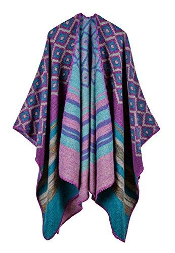 (Womens Lattice Stripes Pashmina Winter Reversible Long Blanket Poncho Cape Shawl Cardigans Purple One Size)