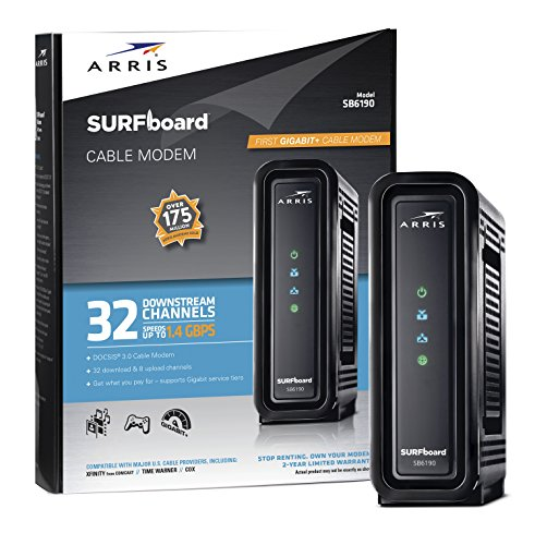 ARRIS Surfboard (32x8) DOCSIS 3.0 Cable Modem, 1.4 Gbps Max Speed, Certified for Comcast Xfinity, Spectrum, Cox, Cablevision & More (SB6190 Black)