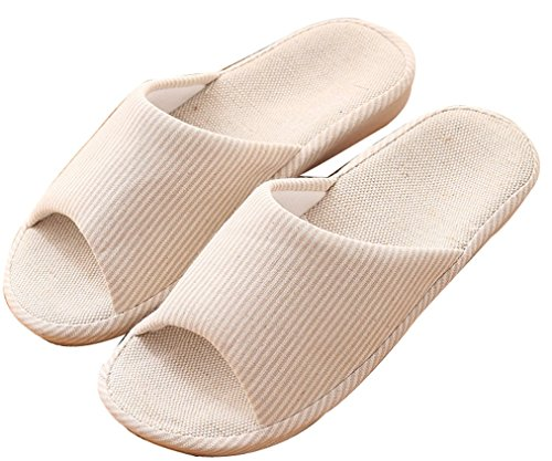 Blubi Womens Summer Candy Color Flax Skid-proof House Slippers Cute Slippers Cream 2 EBipH