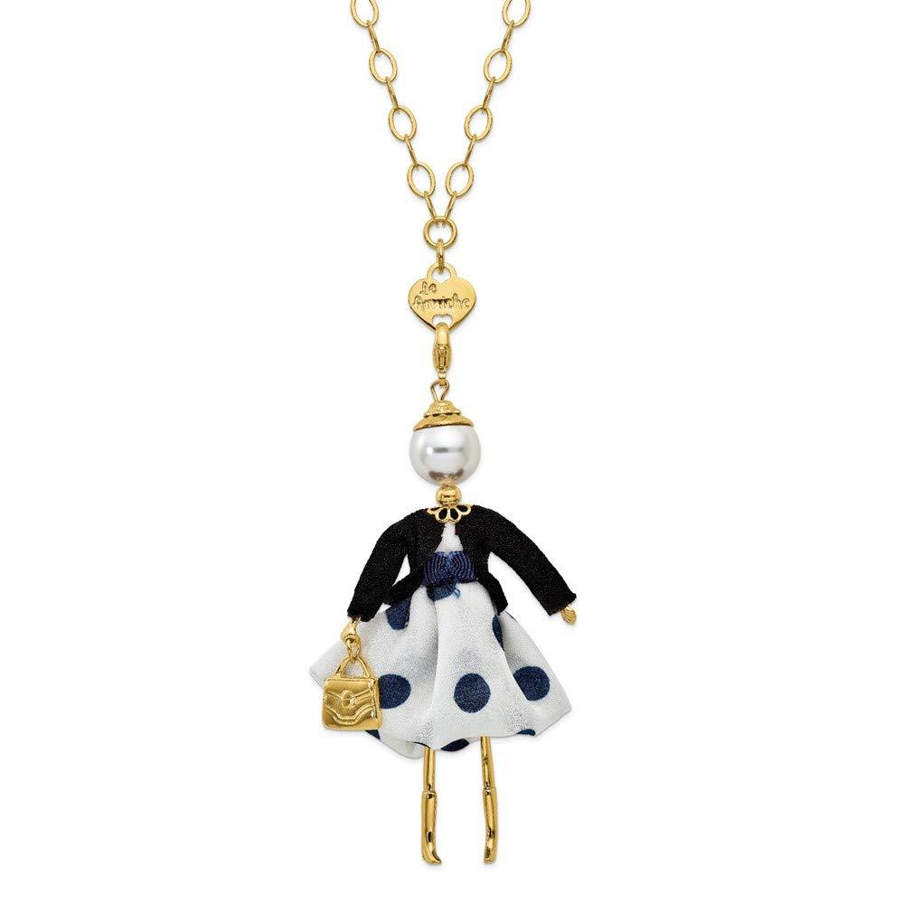Jewels By Lux Le Amiche Gold-Tone Swar Sim.Pearl Blue Polka dot Doll Charm w/Chain