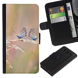 KLONGSHOP // Tirón de la caja Cartera de cuero con ranuras para tarjetas - Butterfly Dual - Samsung Galaxy S3 III I9300 //