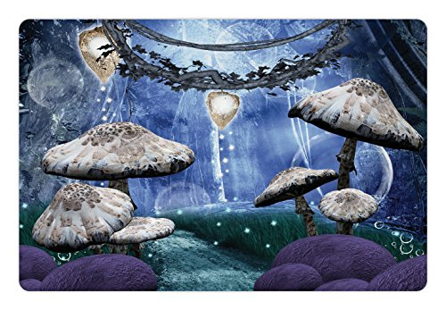 Ambesonne Trippy Pet Mat for Food and Water, Abstract Dreamlike Forest Scenery at Night with Mushrooms Pixie Dust and Bubbles, Rectangle Non-Slip Rubber Mat for Dogs and Cats, Multicolor
