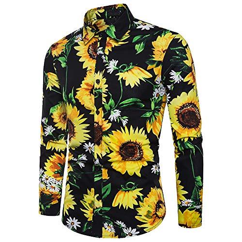 Shirts Mens Casual, NRUTUP Men's Sunflower Print Lapel Shirt Casual Patchwork O-Neck Long Sleeve T-Shirt .(Black,L) from NRUTUP