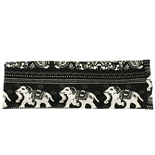 [Stretch Elastic Yoga Headband (White Elephants on Black)] (Elephant Headband)