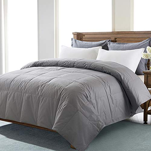 DOWNCOOL Cotton Goose Duck Feather Down Comforter - Lightweight Quilted Duvet Insert with Corner Tabs - Box Stitched Stand-Alone Comforter- Dark Grey, Queen