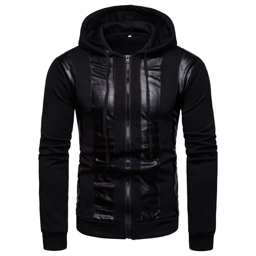 AKIMPE Men's Autumn Winter Casual Hooded Sweater Fashion Spliced Ribbon Coat Black L2