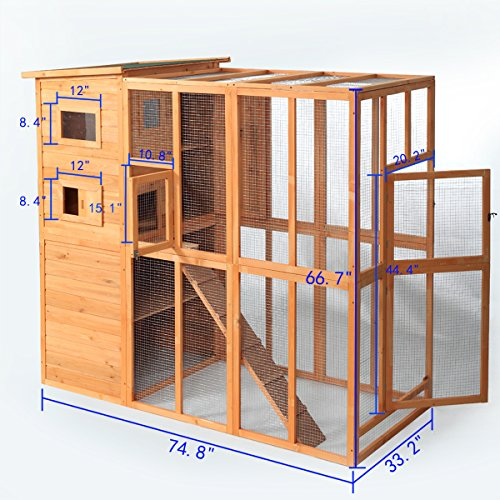 Jaxpety Cat Houses Cage For Outdoor Cats Enclosure Run