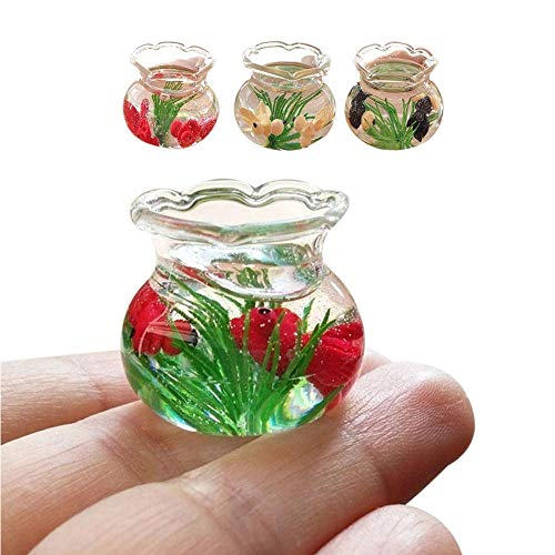 DICPOLIA Toys Relax Dollhouse Decoration,Mini Resin Miniature Fish Tank Accessory Toy for 1/6 1/12 (Red) -