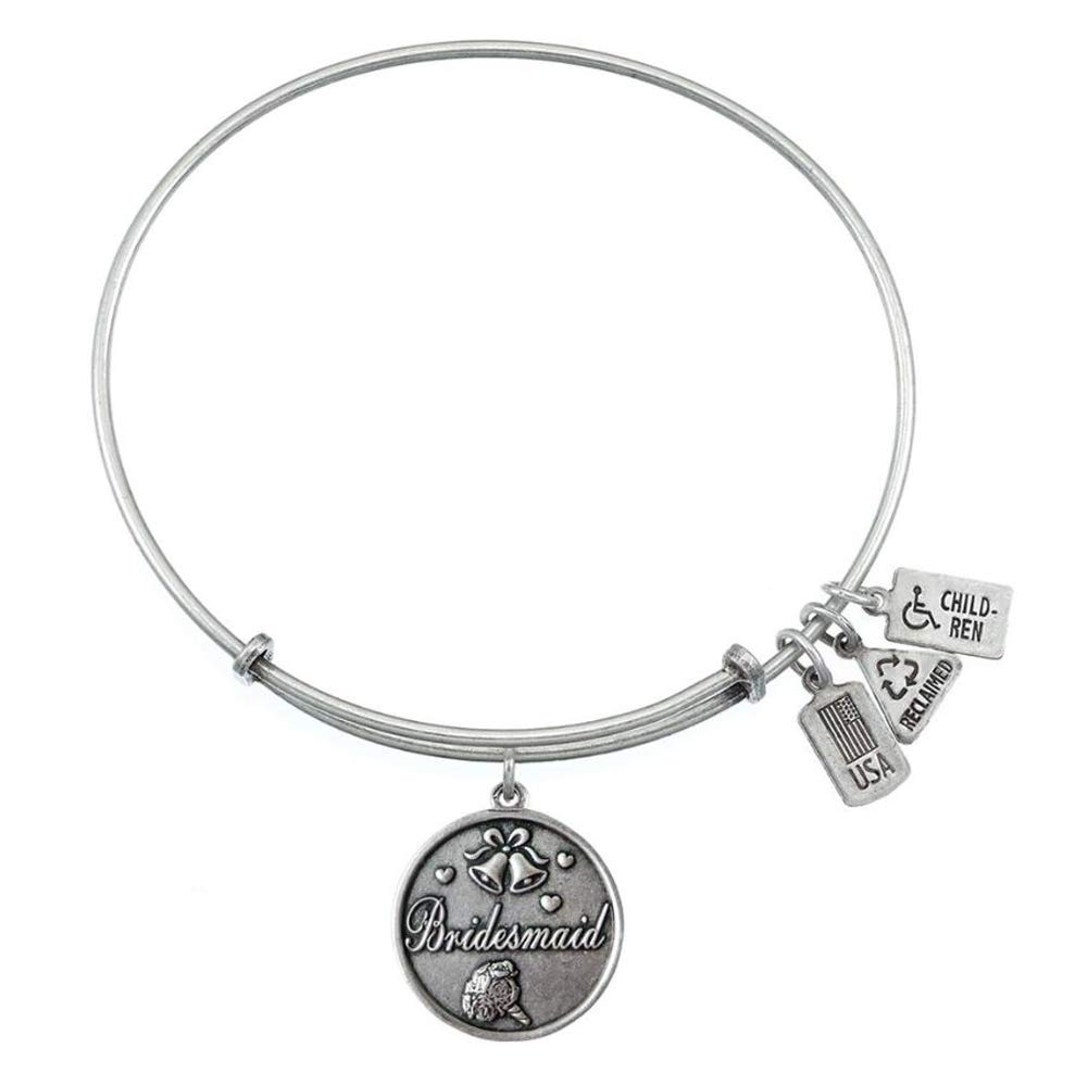 Wind & Fire Bridesmaid Charm Bangle (Silver Style)