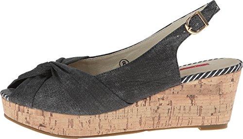 C Label Women's Kelsey-1D Black Sandal 9 M