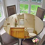 Luxury Round Table Cloth for Home use Classic Half Bathroom with Hardwood Floor and Mirror for Buffet Table, Holiday Dinner 63''-67'' Round (Elastic Edge)