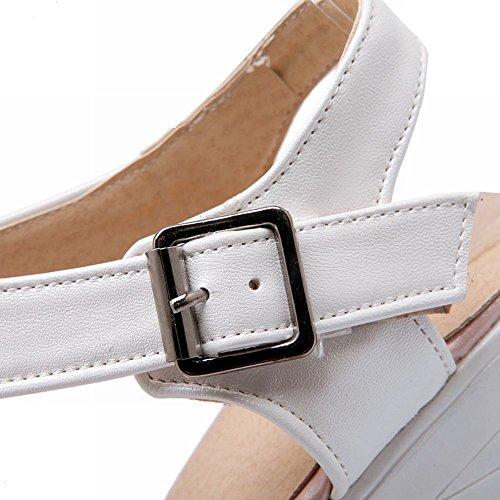 Carol Skor Kvinna Mode Komfort Elegans Spänne Plattform Chunky Högklackade Sandaler Rosa