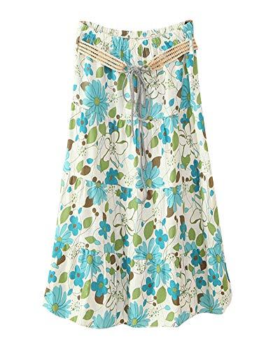 Shaoyao Longues Plisse Maxi 13 Jupe Bleu Jupes Fleur Haute Taille Femme xwSRrw