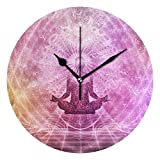 IVERS Meditation Novelty Art Decorative Round Wall Clock