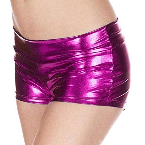 Broadcloth Womens Shorts (Hot! Challyhope Sexy Metallic Rave Booty Dance Shorts Imitation Light Women Boyshorts (Free, Hot Pink))