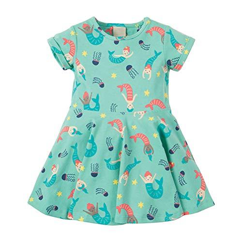 Toddler Girl Summer Short Sleeve Beach Dress Mermaid Cotton Ruffled Skirt Basic Shirt Sleep Dress